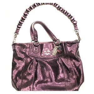 Coach Bags - Glitzy purple leather Coach bag!